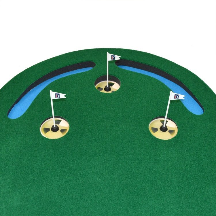 PGA Tour Three Hole Putting Mat 3 x 9 Feet Close Up