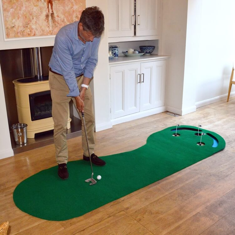 PGA Tour Three Hole Putting Mat 3 x 9 Feet Lifestyle Side