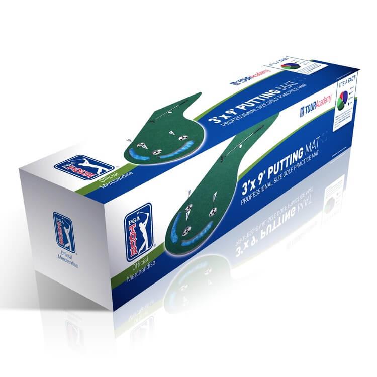 PGA Tour Three Hole Putting Mat 3 x 9 Feet Packaging