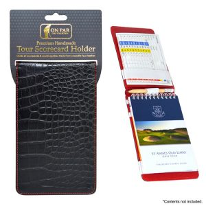 On Par Scorecard Holder Croc Black & Red Main