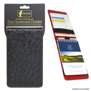 On Par Scorecard Holder Ostrich Black & Red Main