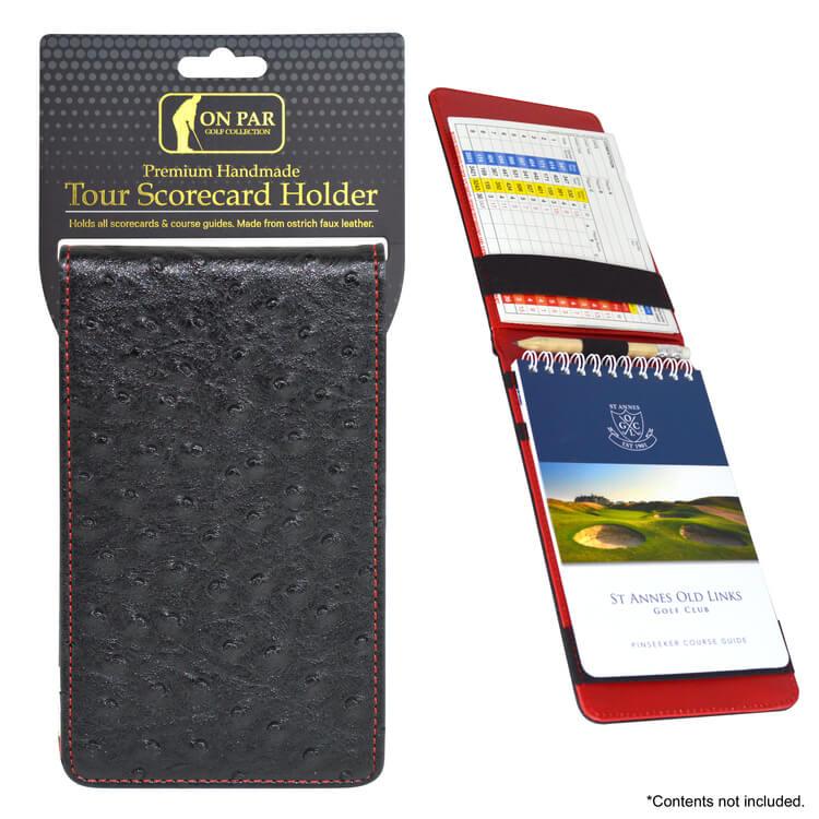 On Par Scorecard Holder Ostrich Black & Red Main