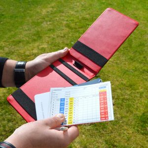 On Par Ostrich Scorecard Holder Black & Red Open Golfer