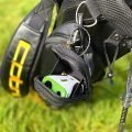 Easygreen OLED Pro Rangefinder in it's open carry case on a stand bag