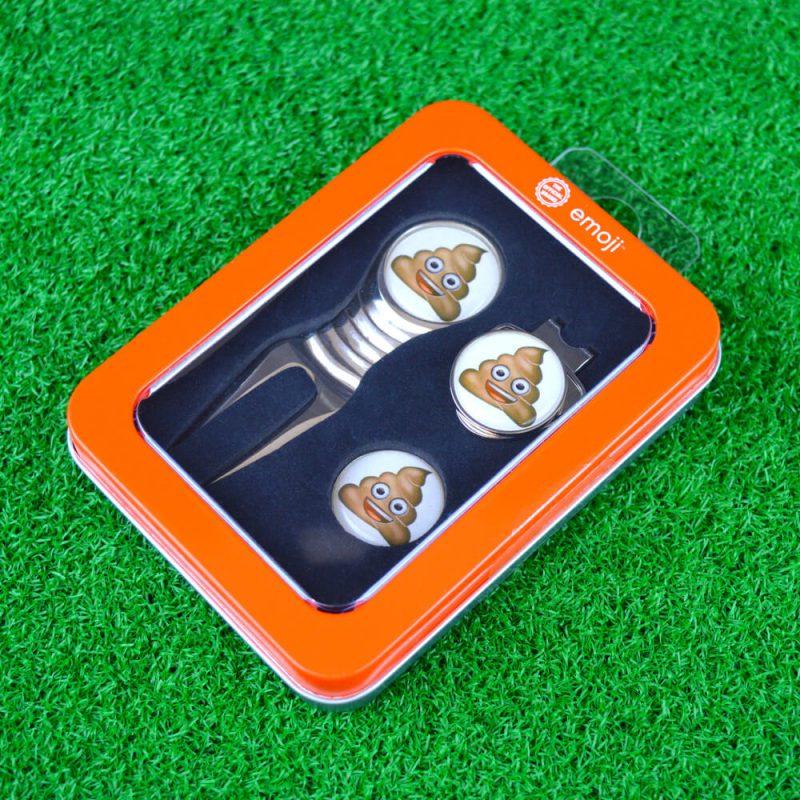 Emoji Poop Divot Tool Golf Set On Grass