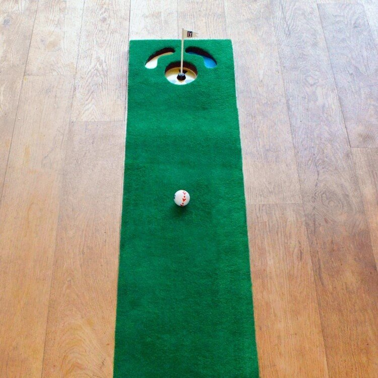 PGA Tour 6ft Putting Mat with Guide Ball and Ball Alignment Tool Lifestyle Close Up