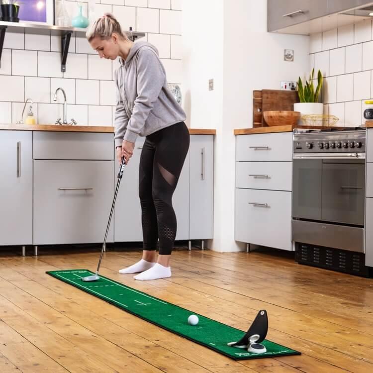 PuttOUT Slim Pro Putting Mat Green Golfer Female