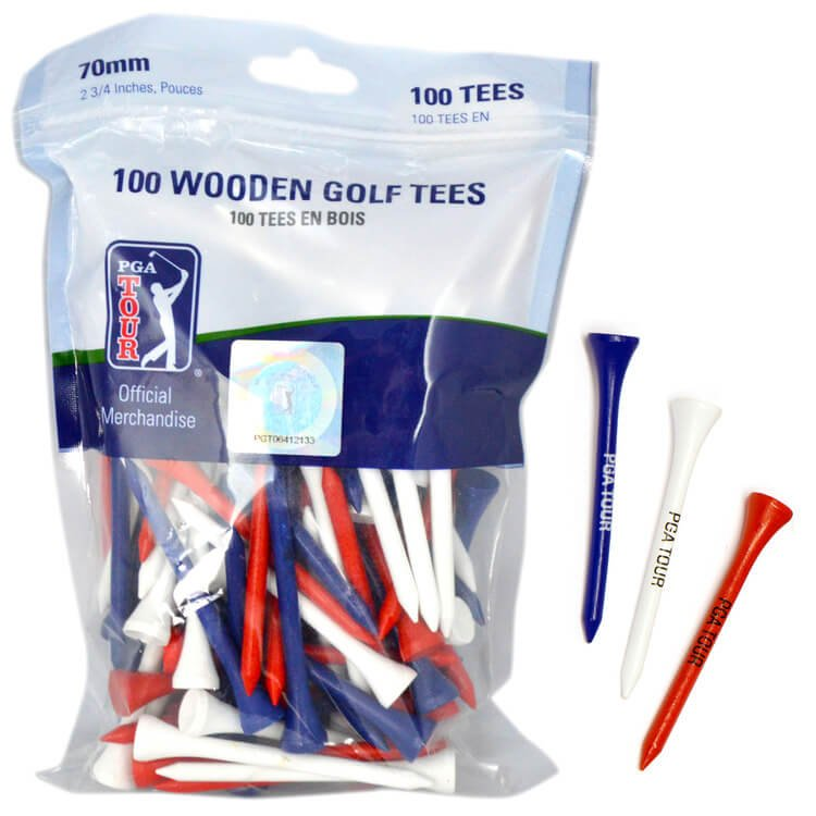 PGA TOUR 100 Wooden Golf Tees 7cm Red White Blue