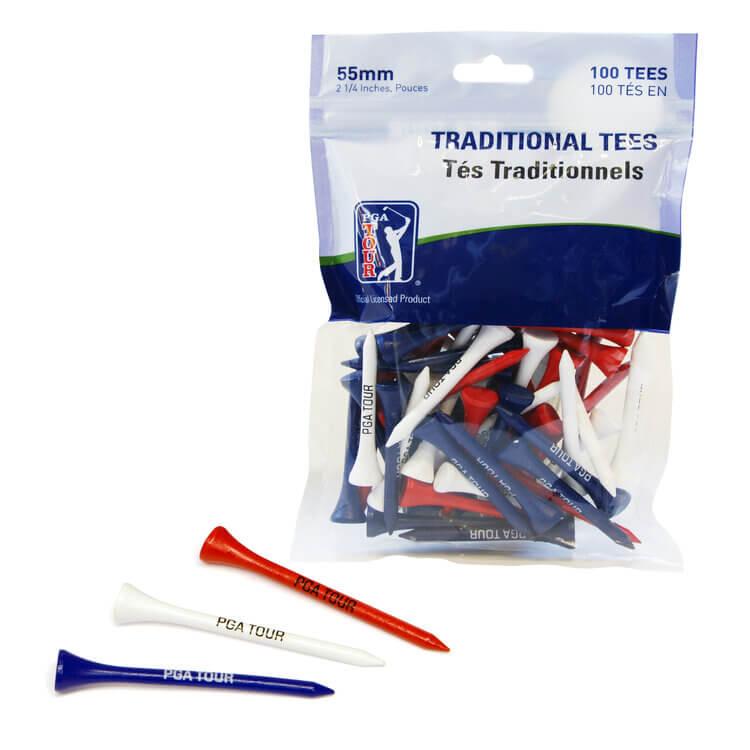 PGA Tour 100 Wooden Golf Tees 5.5 cm