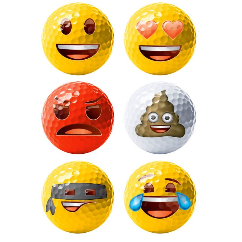 Emoji Novelty Golf Balls (Pack of 6) Golf Balls White Background