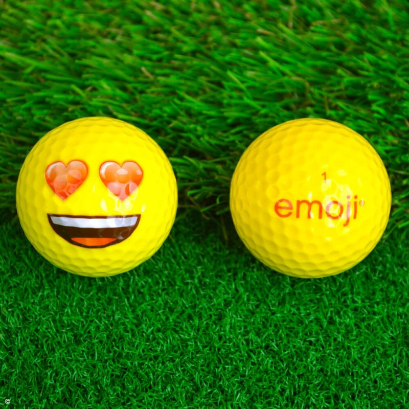 Emoji Novelty Golf Balls (Pack of 6) Love Eyes