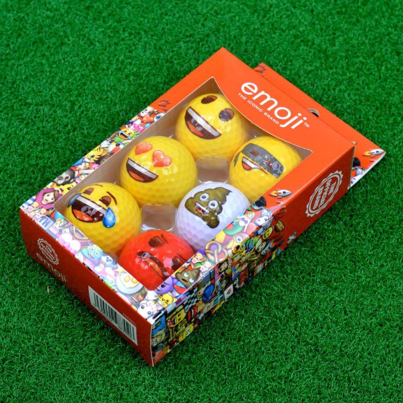 Emoji Novelty Golf Balls (Pack of 6) On Grass