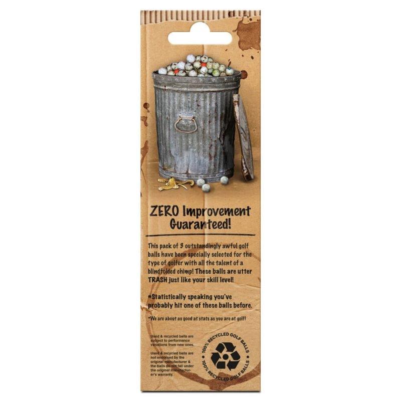 On Par Garbage Golf Balls 3 Pack Back of Packaging