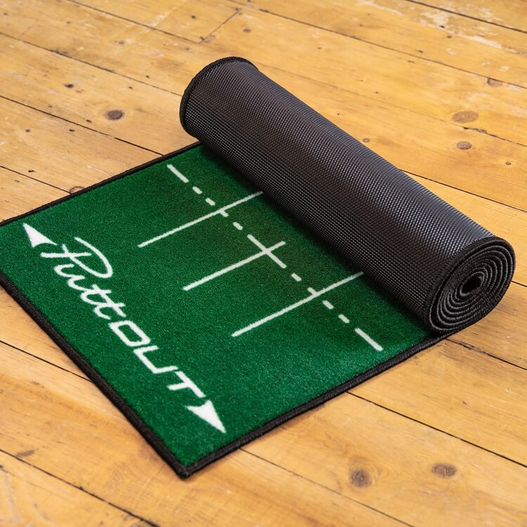 PuttOUT Medium Pro Putting Mat Green Lifestyle Rolled Up