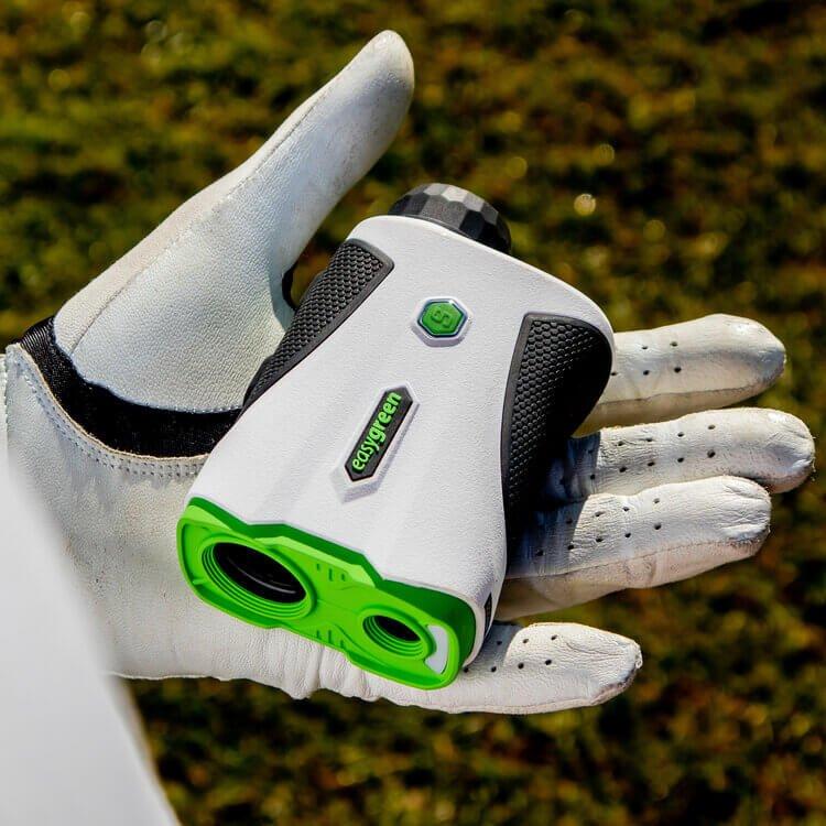 Easygreen OLED Pro Rangefinder Holding in Golf