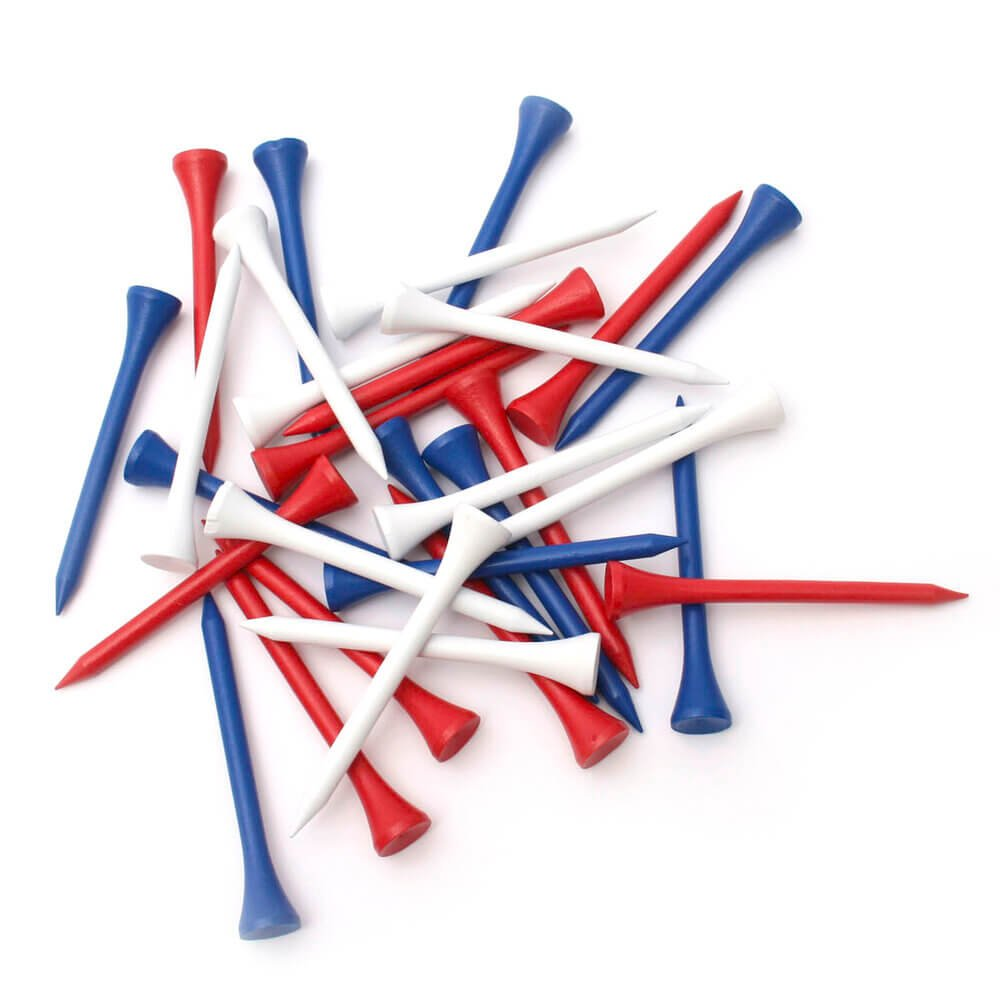 Loose Wooden Tees 7cm Blue Red and White