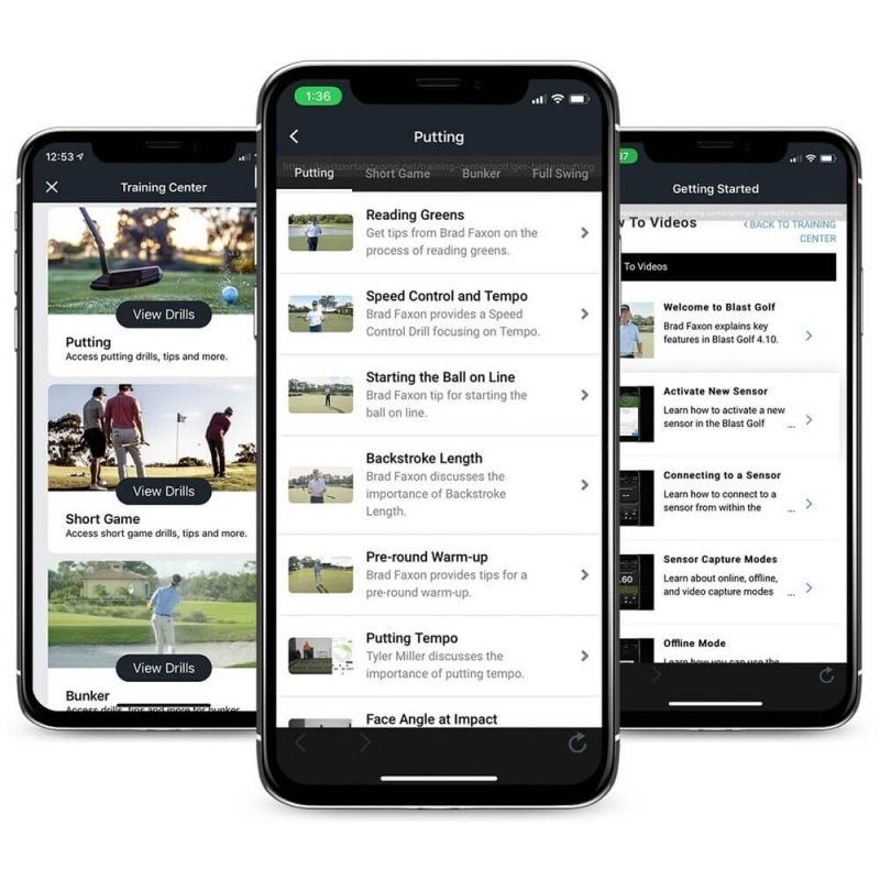 Blast Motion Golf Enchance Training Center App