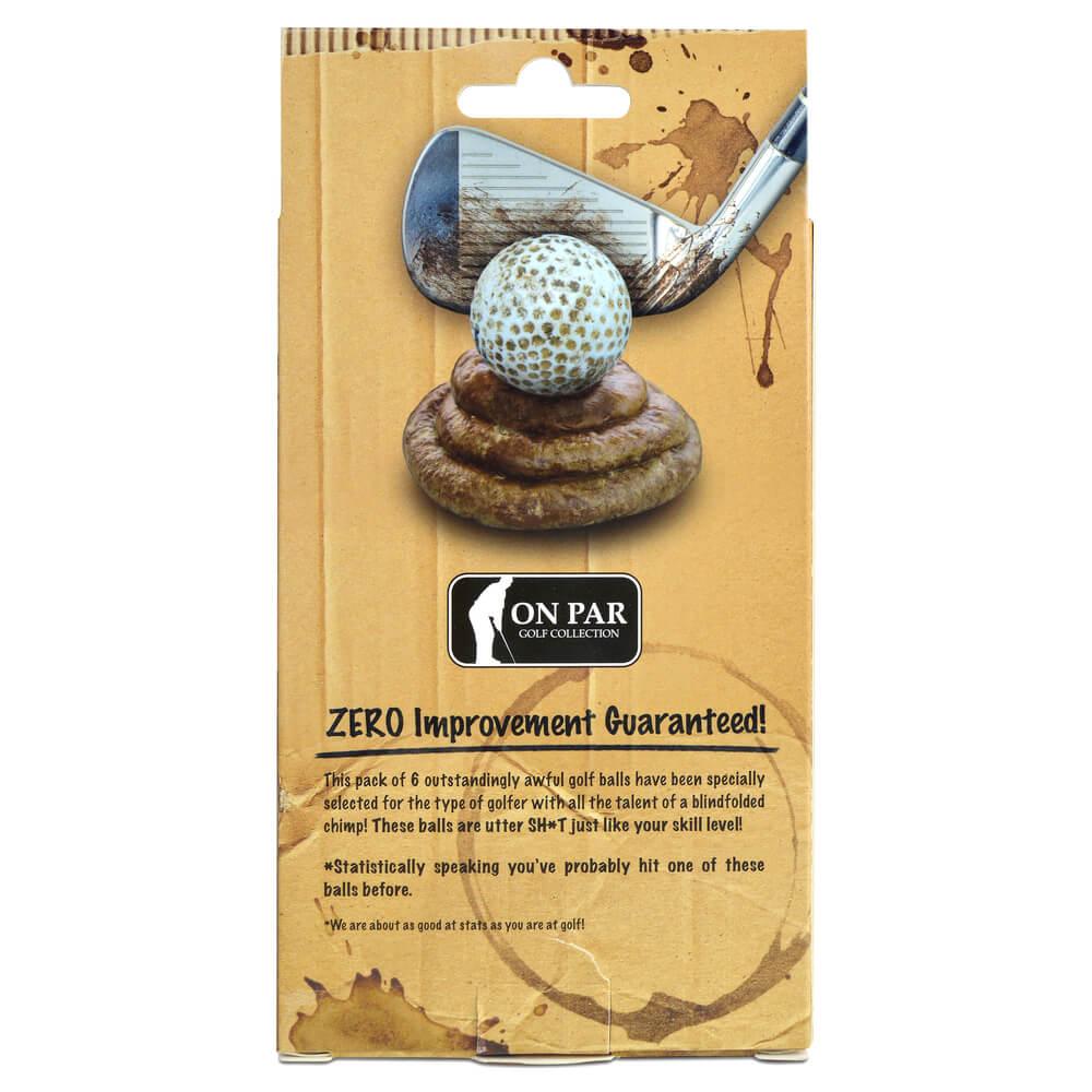 On Par Shtty Golf Balls 6 Pack Back of Packaging