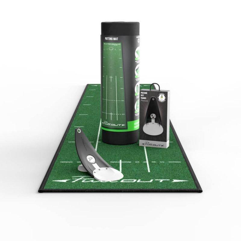 PuttOUT Starter Putting Bundle Green Mat Stone Trainer