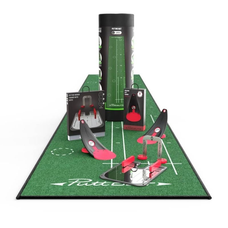 PuttOUT Pro Putting Studio Large Green Mat Two Coral Trainers Mirror & Gate