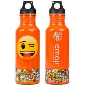 Emoji Orange Wink Water Bottle Back & Front