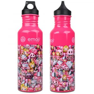 Emoji Pink Pattern Water Bottle Front & Back