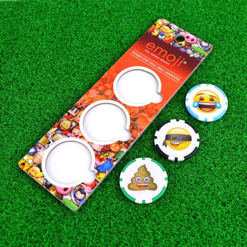 Emoji Poker Chip Ball Markers On Grass
