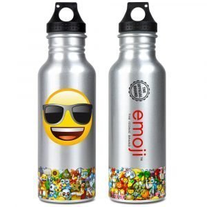 Emoji Silver Sunglasses Water Bottle Back & Front