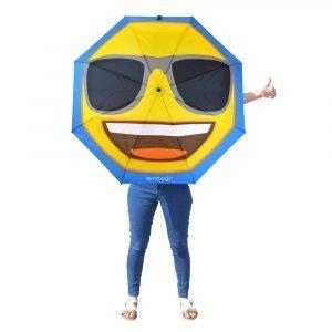 Emoji Sunglasses Compact Umbrella Person